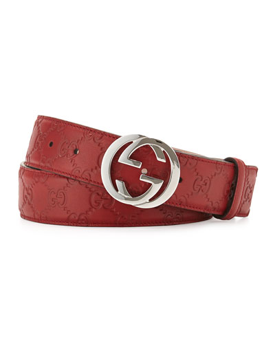 Interlocking G Leather Belt, Red