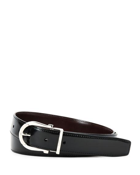 Reversible Gancini Leather Dress Belt, Black/Dark Red