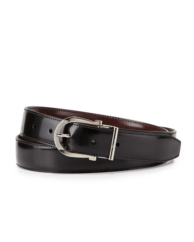 Reversible Gancini Leather Dress Belt, Black/Dark Red
