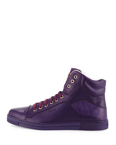Stephen 2 Calfskin High-Top Sneaker, Purple