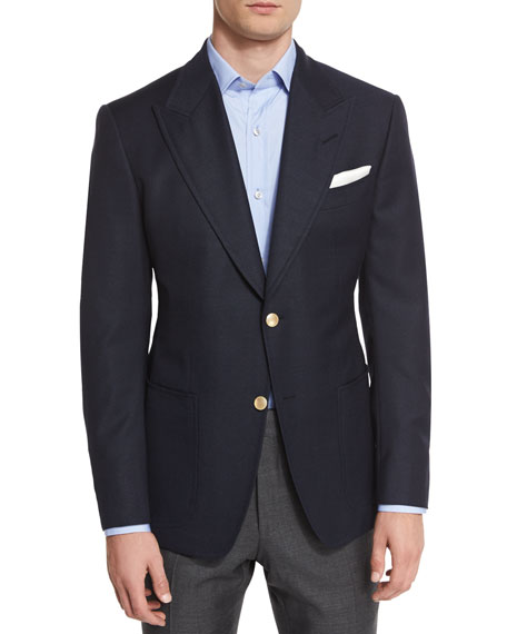 TOM FORD Spencer Base Two-Button Blazer, Navy