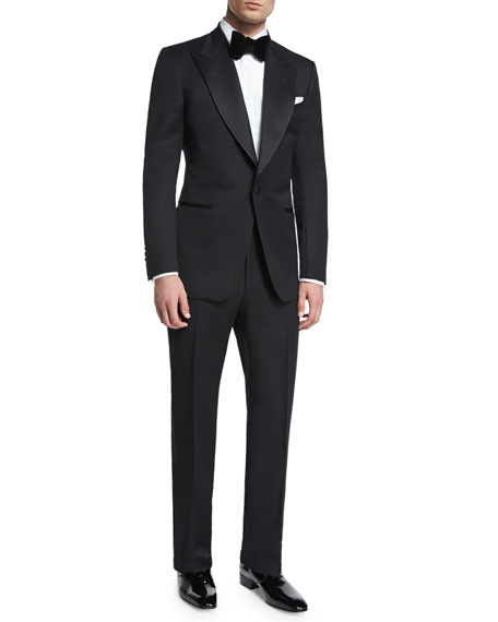 Windsor Base Peak-Lapel Tuxedo, Black