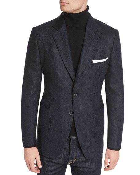 O Connor Base Tweed Cardigan Jacket Navy