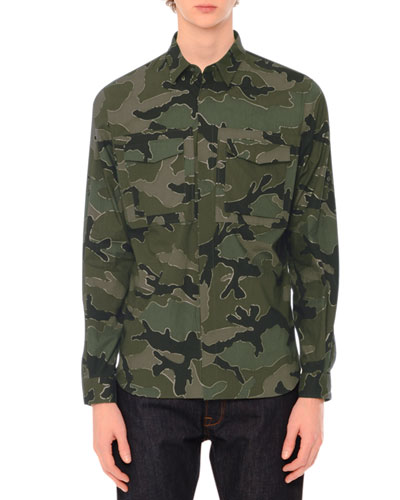 Camo-Print Long-Sleeve Military Shirt, Green Multi