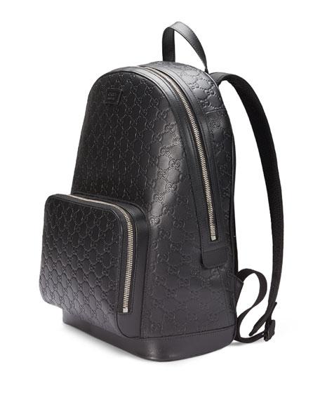 Signature Leather Backpack, Black