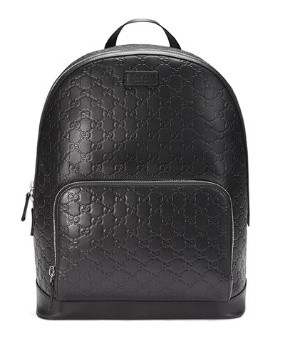 Signature Leather Backpack  Black