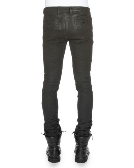 Coated Skinny Biker Denim Jeans, Noir