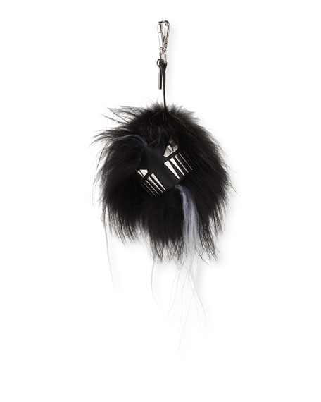 Fur Cube Monster Charm for Bag/Briefcase, Gray/White/Black