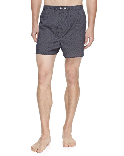 Plaza Pindot Boxer Shorts  Navy