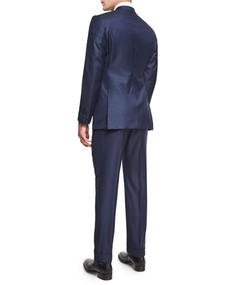 O'Connor Base Sharkskin Two-Piece Suit, Bright Navy