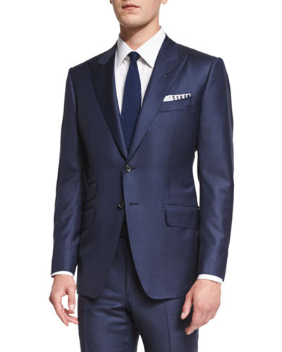 O'Connor Base Sharkskin Two-Piece Suit  Bright Navy