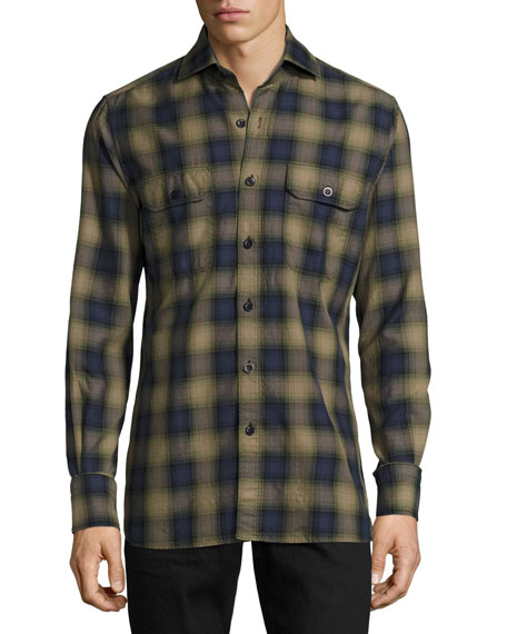 Plaid Oxford Shirt, Green/Blue