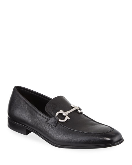 Salvatore Ferragamo Textured Calfskin Gancini Loafer, Black