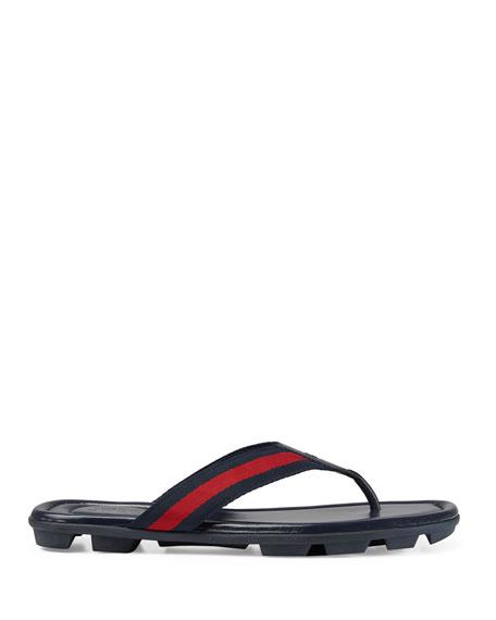 69cf5b512973 Gucci Web   Leather Thong Sandals