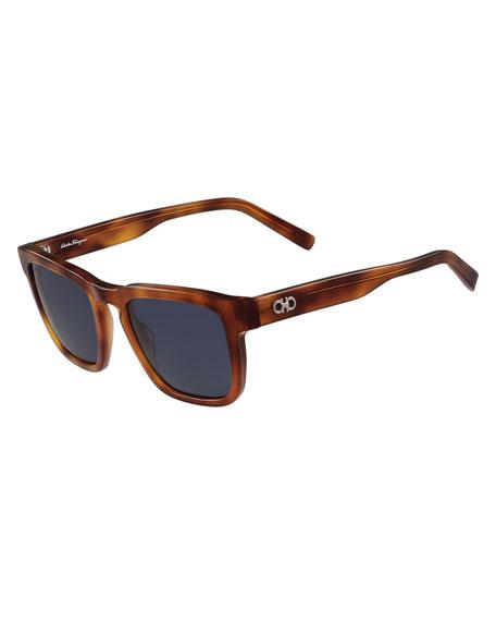 Gancini Square Polarized Acetate Sunglasses, Light Tortoise