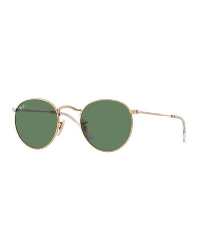 Men's Round Metal Sunglasses  Green