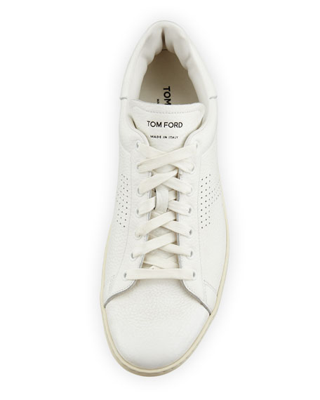 Men's Warwick Grained Leather Low-Top Sneakers, White
