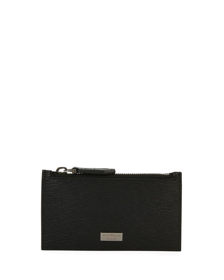 Men's Revival Leather Zip-Top Card Case, Black