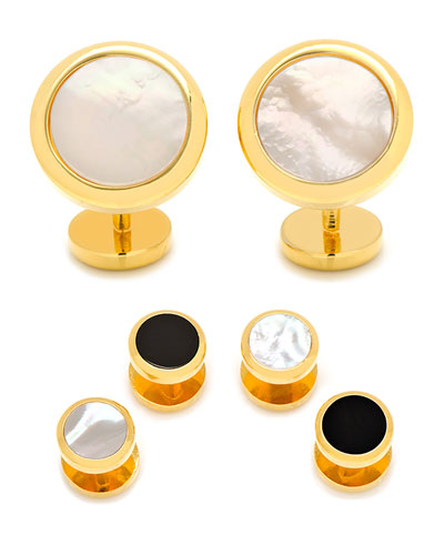 Double-Sided Mother-of-Pearl & Onyx Cuff Links & Stud Set