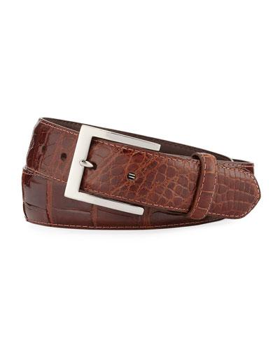 Glazed Alligator Belt with Interchangeable Buckles  Brown