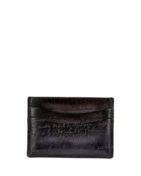 Bambou Scritto Leather Card Case, Nero