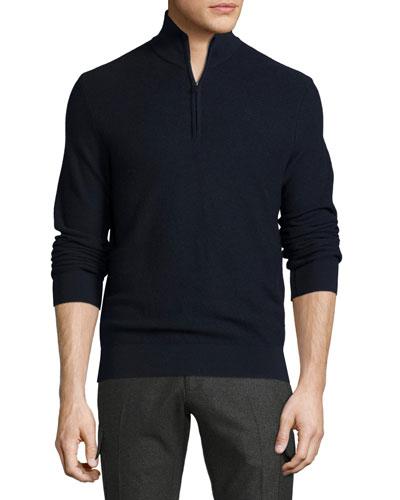 Piqué Quarter-Zip Pullover  Navy