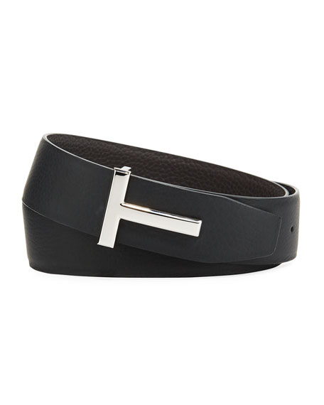 Image 1 of 1: T-Buckle Reversible Leather Belt