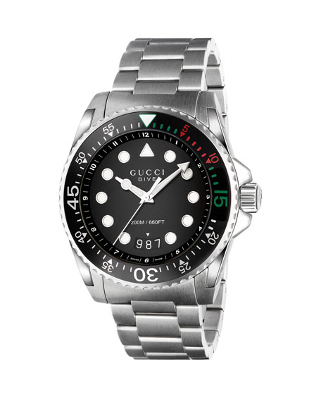 Image 1 of 1: 45mm Gucci Dive Stainless Steel Bracelet Watch