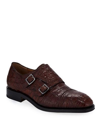 Men's Tramezza Crocodile Double-Monk Shoe