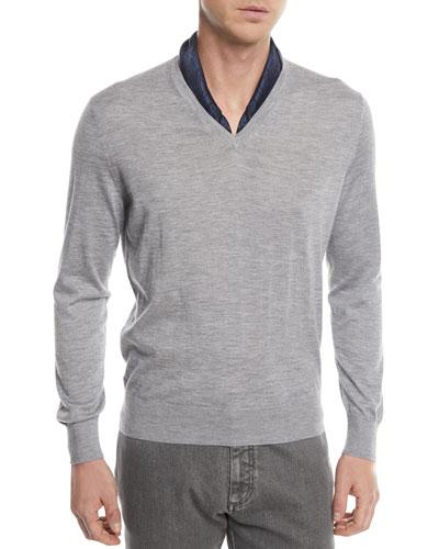 Cashmere-Cotton V-Neck Sweater