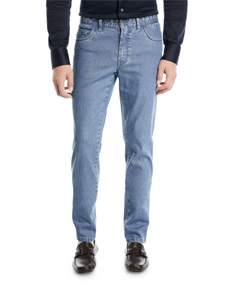Straight-Leg Stretch Denim Jeans