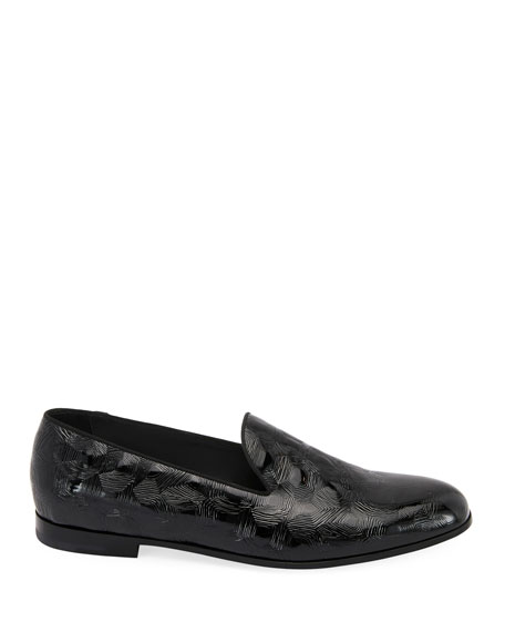 Textured Patent Leather Slip-On Loafer