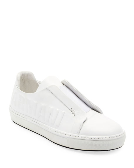 Giorgio Armani Men's Logo-Embossed Slip-On Low-Top Sneakers,