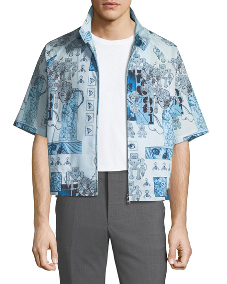 Robot-Print Zip-Front Over Shirt