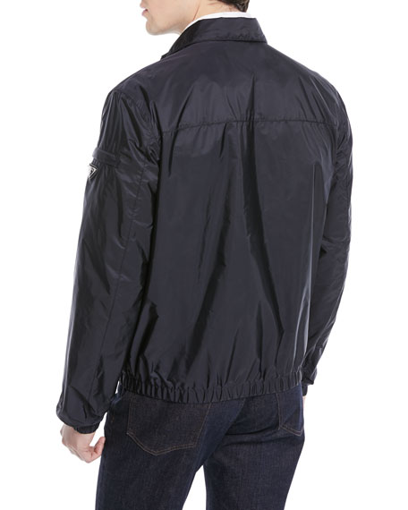 Stand Collar Zip-Front Nylon Jacket