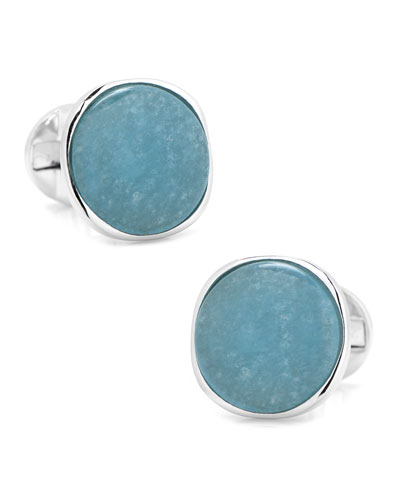 Aquamarine Jade & Sterling Silver Cufflinks