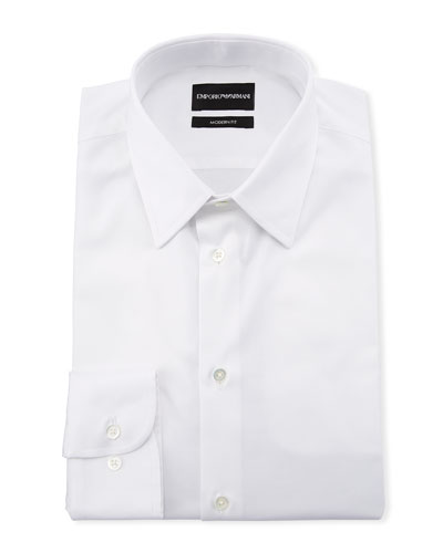 Men's Modern-Fit Cotton-Stretch Dress Shirt  White