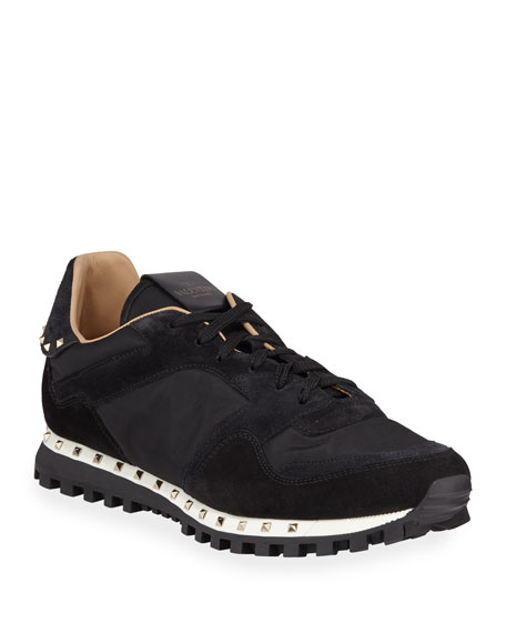 Image 1 of 1: Men's Suede-Trim Rockstud Sneakers