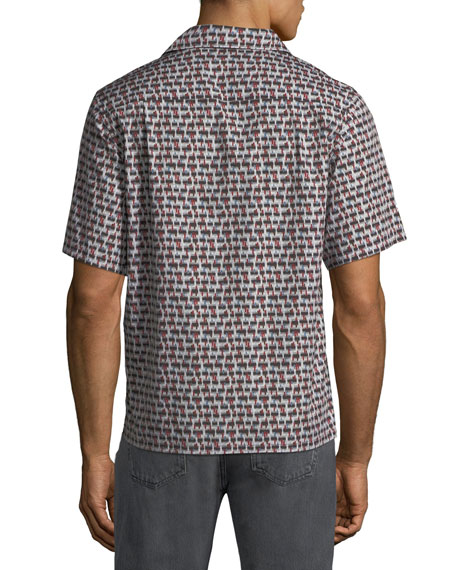 Men's Fantasia-Print Short-Sleeve Bowling Shirt