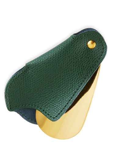 Golden Travel Shoe Horn with Leather Case  Green