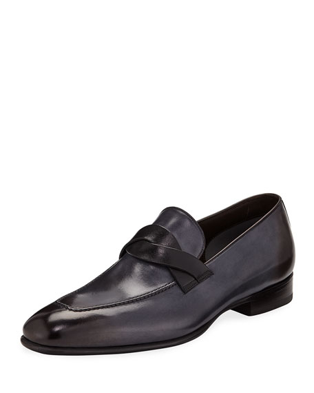 Image 1 of 1: Men's Twist-Front Leather Loafers