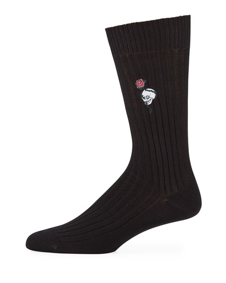 Men's Chunky-Knit Skull & Rose Cotton Socks