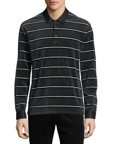 Men's Long-Sleeve Rugby-Stripe Polo Shirt