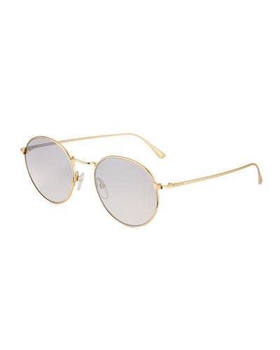 Men's Ryan Round Metal Sunglasses  Gold