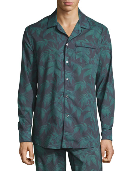 Men's Byron Palm Leaf-Print Lounge Shirt