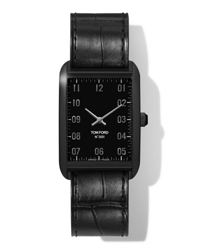 N.001 44mm x 30mm Rectangular Leather Watch  Black