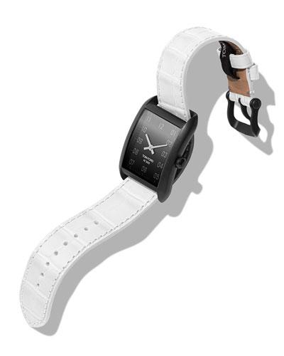 Men's 40x27 Matte Alligator Medium Watch  Black/White