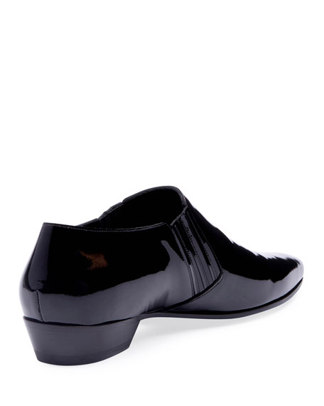 Men's Patent Leather Cropped Booties