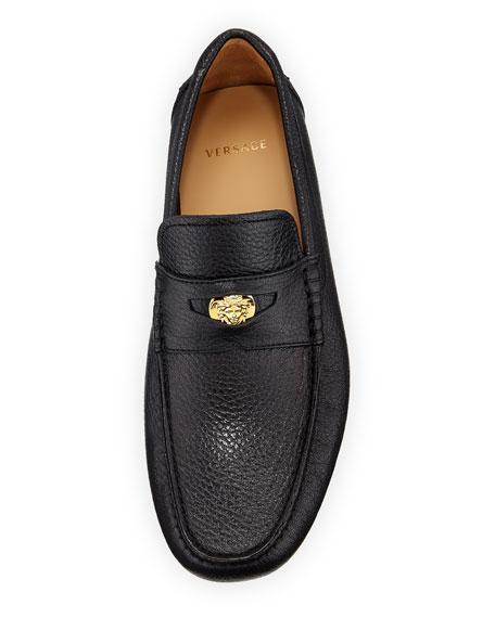 Men's Signature Medusa Textured Leather Loafer