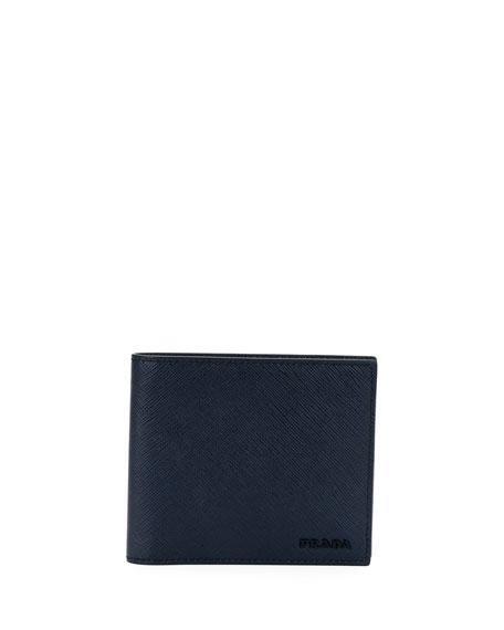 Men's Colorblock Saffiano Leather Double Billfold Wallet
